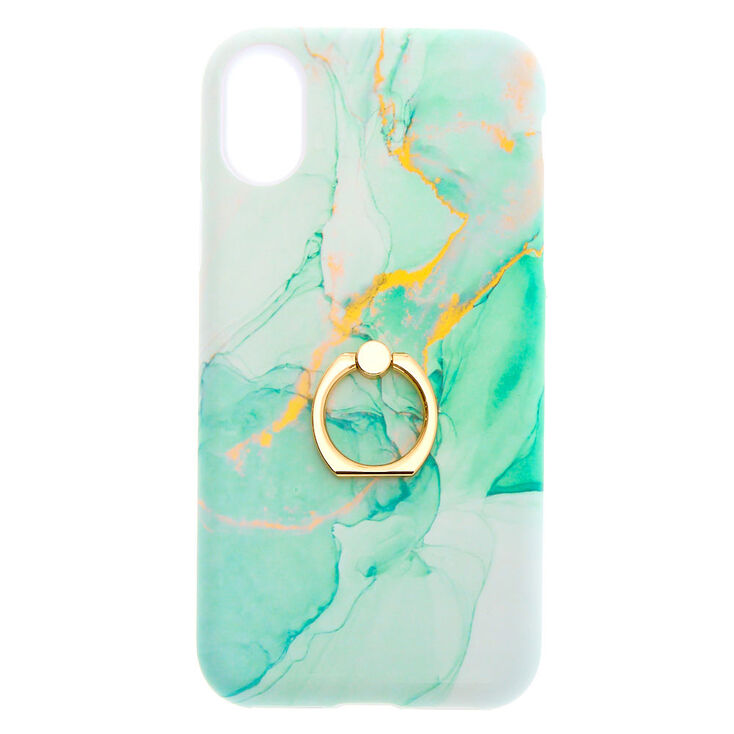 Green Marble Ring Holder Phone Case - Fits iPhone X/XS,