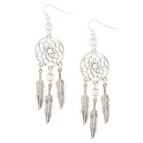 """Silver 2.5"""" Bead Dreamcatcher Drop Earrings - Pink,"""