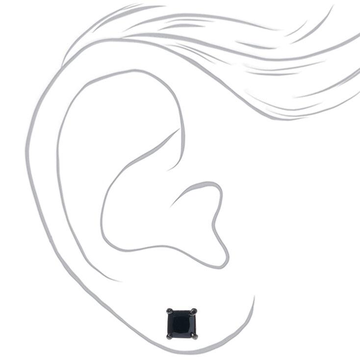 Hematite Cubic Zirconia Square Stud Earrings - Black, 5MM,