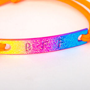 Glitter Rainbow Plate Stretch Friendship Bracelets - 2 Pack,