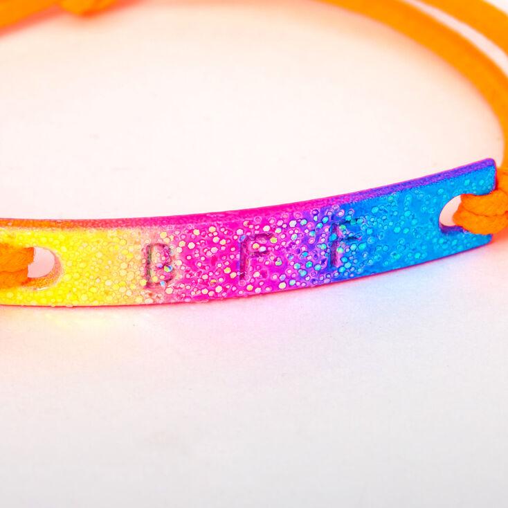 Glitter Rainbow Plate Stretch Friendship Bracelets - 2 Pack,