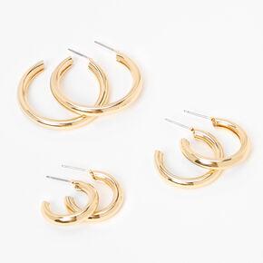 Gold Graduated Tube Hoop Earrings - 3 Pack,
