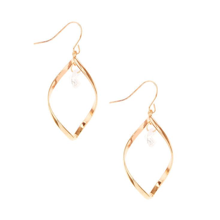 2156d22270852 Rose Gold Tone Open Swirl with Cubic Zirconia Stud Drop Earrings