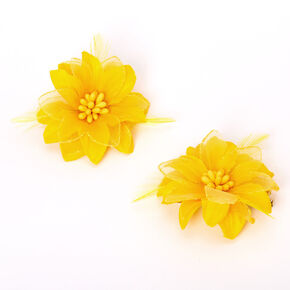 Lily Flower Hair Clips - Yellow, 2 Pack,
