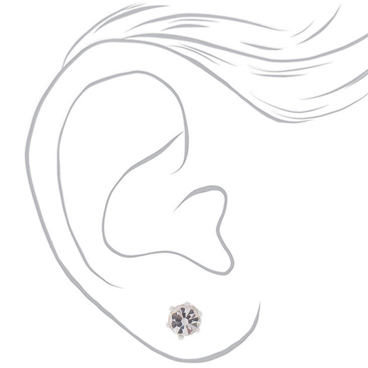 Silver Cool Tone Crystal Stud Earrings - 9 Pack,