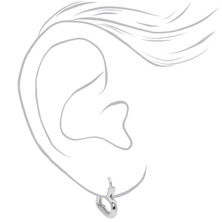 Silver 15MM Tube Heart Huggie Hoop Earrings,