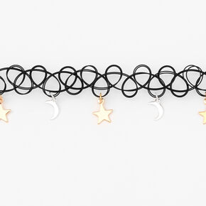 Mixed Metal Celestial Tattoo Choker Necklace,