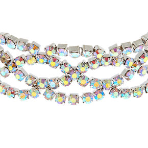 Silver Rhinestone Iridescent Crochet Chain Bracelet,