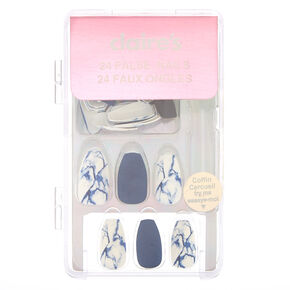 Marble Matte Coffin Faux Nail Set - Navy, 24 Pack,