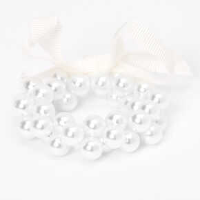 Claire's Club Ribbon Pearl Stretch Bracelet - White,