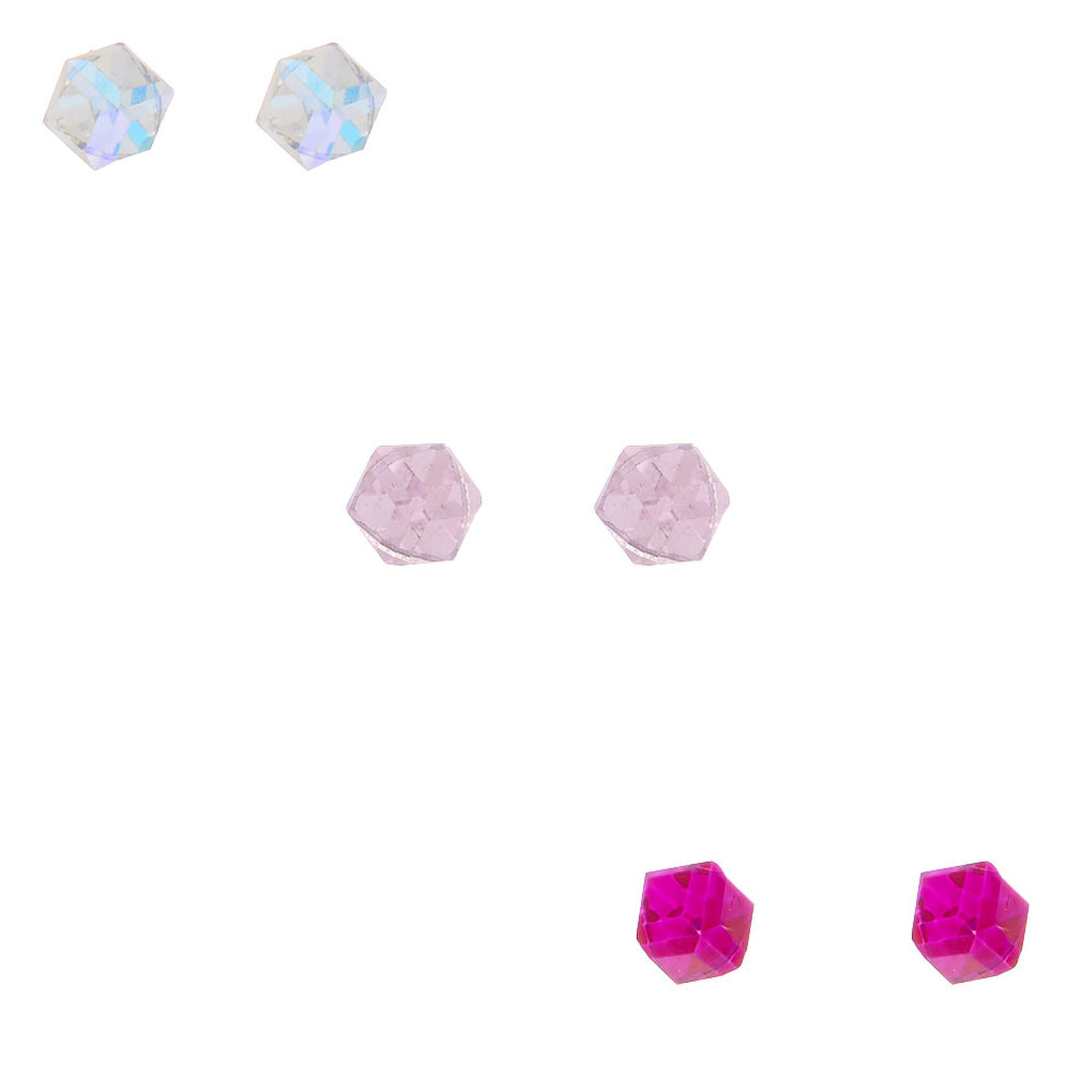 6a1f2d85330f9 Sterling Silver Iridescent Cube Stud Earrings - Pink, 3 Pack