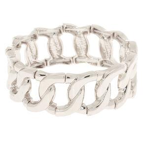 Silver Chain Link Stretch Bracelet,