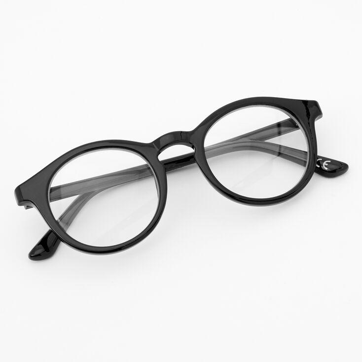 Round Briggs Clear Lens Frames - Black,
