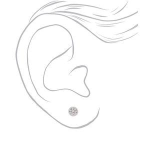 Clous d'oreille biseautés 6mm zircon cubique d'imitation en argent,
