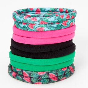 Watermelon Print Rolled Hair Ties - 10 Pack,
