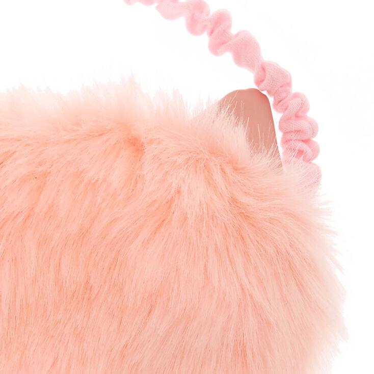 Masque de sommeil rose en fausse fourrure avec oreilles de chat,
