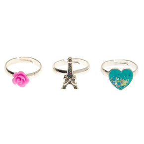 Silver Girly Glitter Rings - 3 Pack,