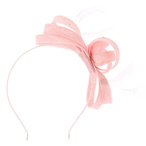 Feather Bow Fascinator Headband - Pink,