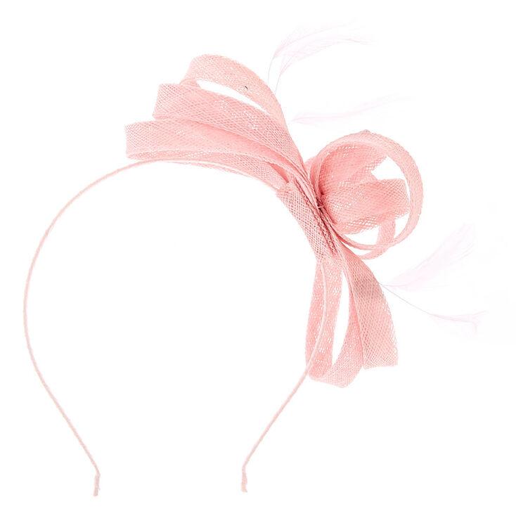 Serre-tête à nœud rose avec plumes,