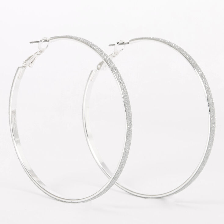 Silver 60MM Thin Glitter Hoop Earrings,