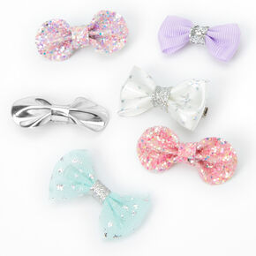 Claire's Club Mixed Celestial Bow Hair Clips - 6 Pack,