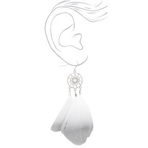 "Silver 3.5"" Metallic Dreamcatcher Drop Earrings - Grey,"