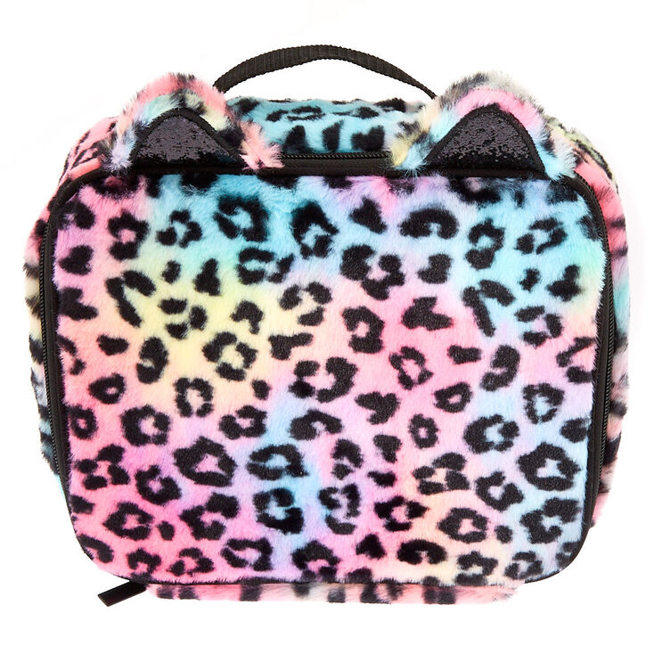Plush Rainbow Leopard Insulated Lunch