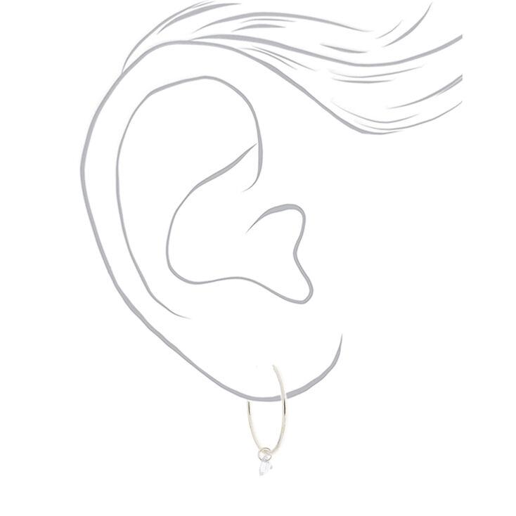 Silver Cubic Zirconia 25MM Gem Hoop Earrings,