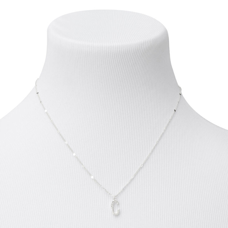 Silver Half Stone Initial Pendant Necklace - C,