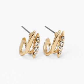 Gold Embellished Folded Stud Earrings,