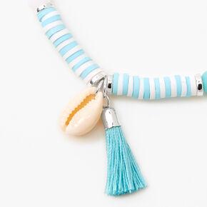 Bracelet élastique perlé coquillages cauris - Bleu,