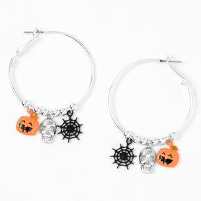 Silver 40MM Halloween Charm Hoop Earrings,