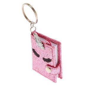 Mini porte-clés journal intime rose motif licorne à paillettes,