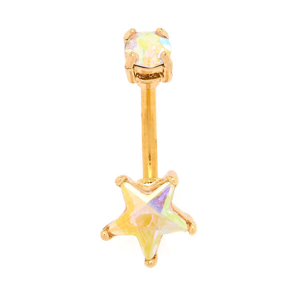 Claire's - 14g iridescent star belly ring - 2
