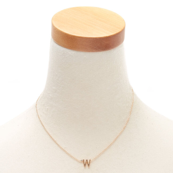 Gold Stone Initial Pendant Necklace - W,