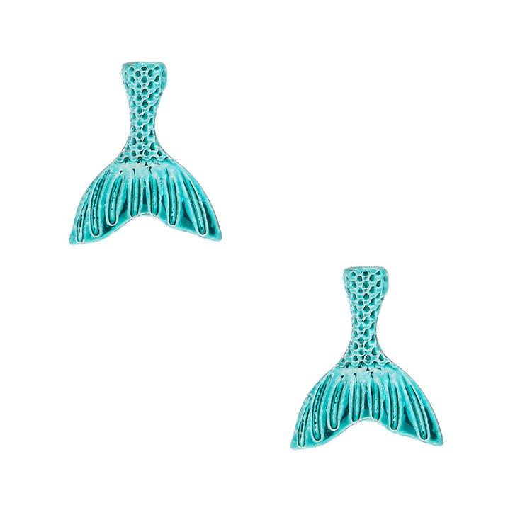 Mermaid Tail Stud Earrings - Turquoise,