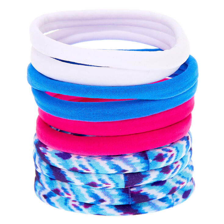 Tie Dye Retro Rolled Hair Bobbles - Blue, 10 Pack,