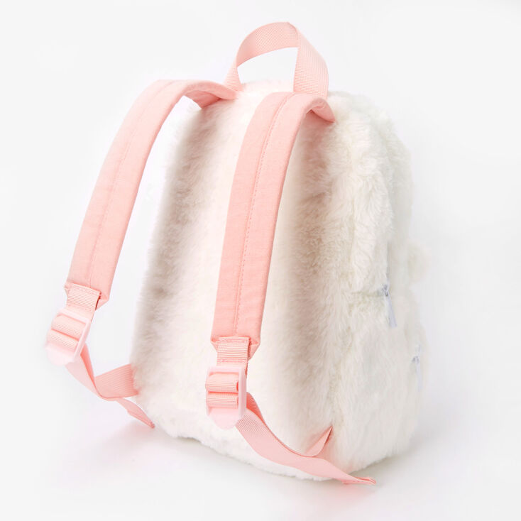 Claire's Club Furry Unicorn Small Backpack - White,