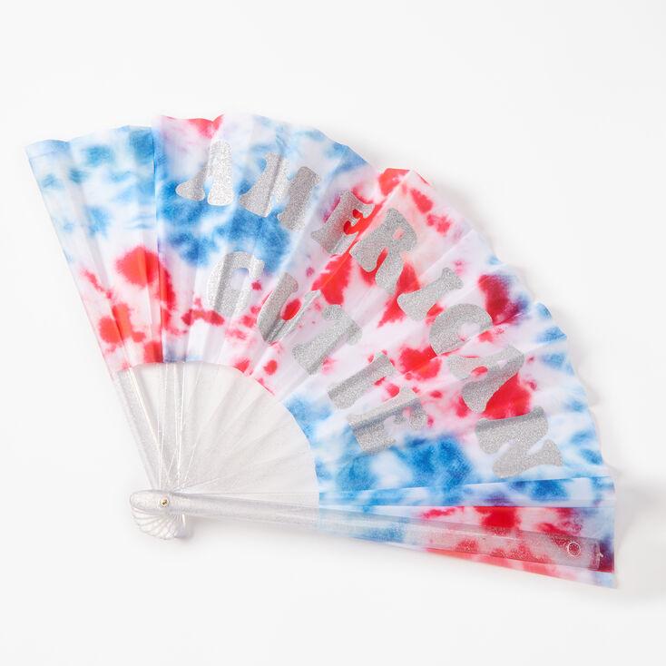 Fourth Of July Tie Dye Oversized Personal Fan - White,