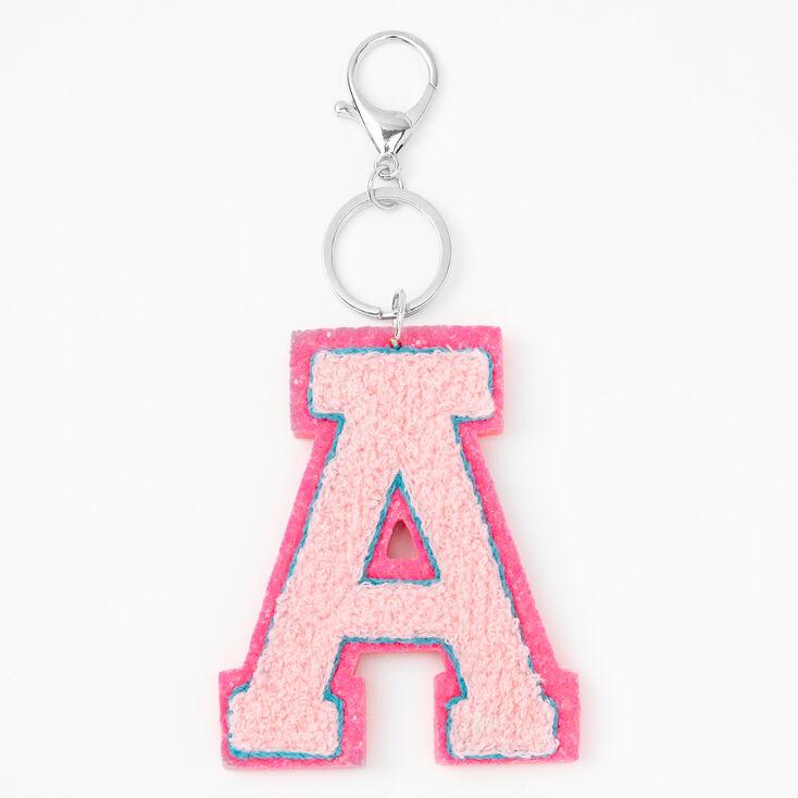 Pink Varsity Initial Keyring - A,