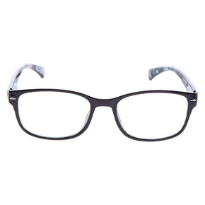 Floral Rectangle Clear Lens Frames - Black,