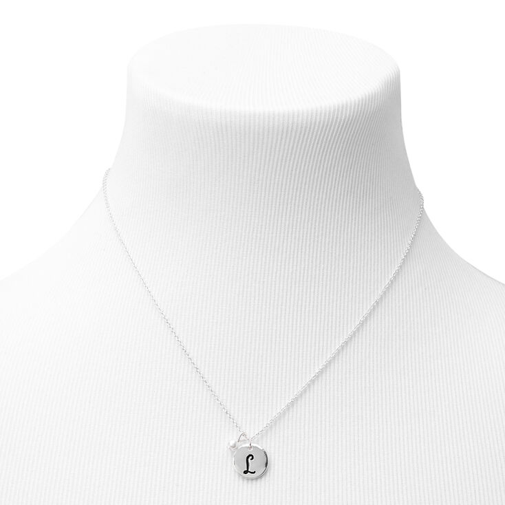 Silver Initial Pearl Jewellery Set - L, 2 Pack,