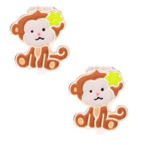Monkey Business Clip On Earrings - Brown,