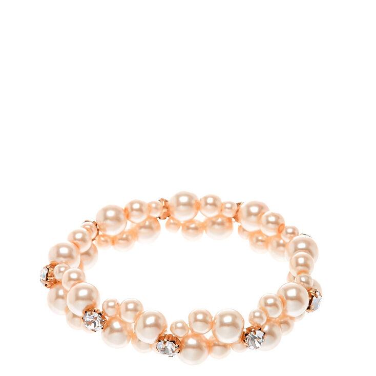 Bracelet perle d'imitation couleur blush à double rang,