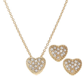 Gold Embellished Heart Jewelry Set - 2 Pack,