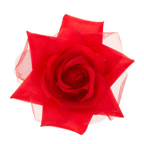 Chiffon Rose Hair Clip - Red,