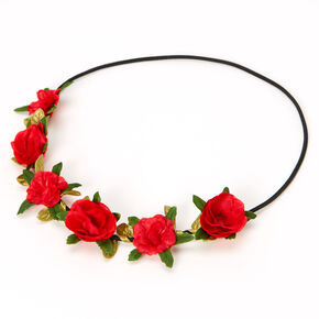 Leaves & Roses Flower Crown Headwrap - Red,