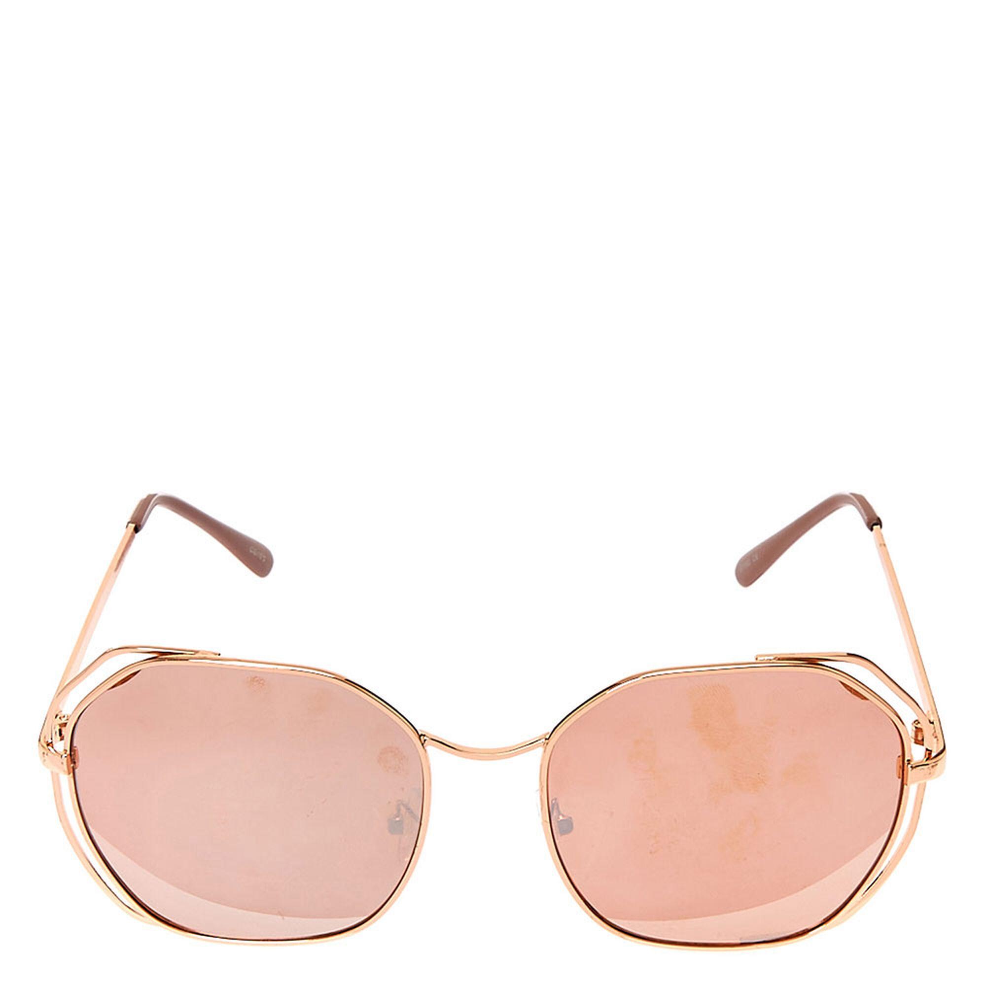 lunettes de soleil rondes effet miroir or rose claire 39 s fr. Black Bedroom Furniture Sets. Home Design Ideas