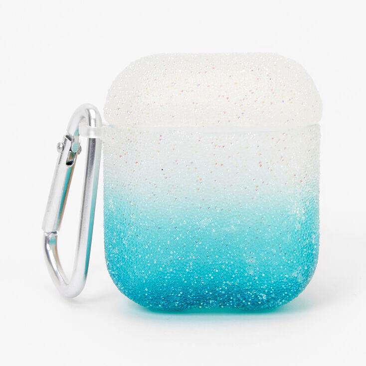 Étui pour écouteurs à paillettes caviar avec dégradé de tons vert menthe- Compatible avec les AirPods® de Apple,
