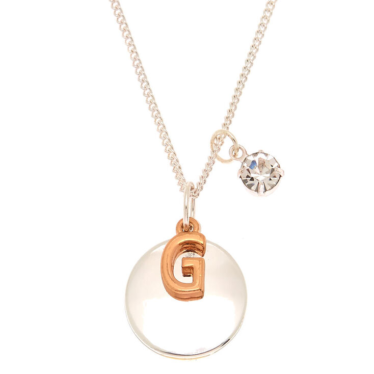 mixed metal initial charm pendant necklace g claire s